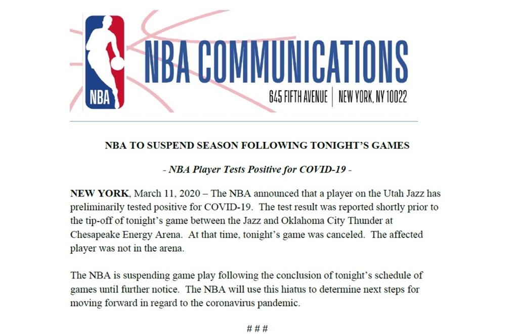 美國職籃NBA 11日宣布,一名猶他爵士球員在武漢肺炎檢測呈現陽性,因此賽季將全面暫停,直到進一步通知為止。(圖取自twitter.com/NBA)