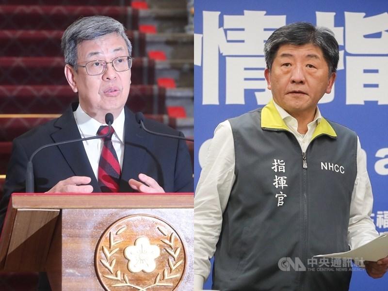 日本自由媒體人野島剛讚揚台灣防疫武漢肺炎能力,認為副總統陳建仁(左)和衛服部長陳時中(右)是最大的功臣。(中央社檔案照片)