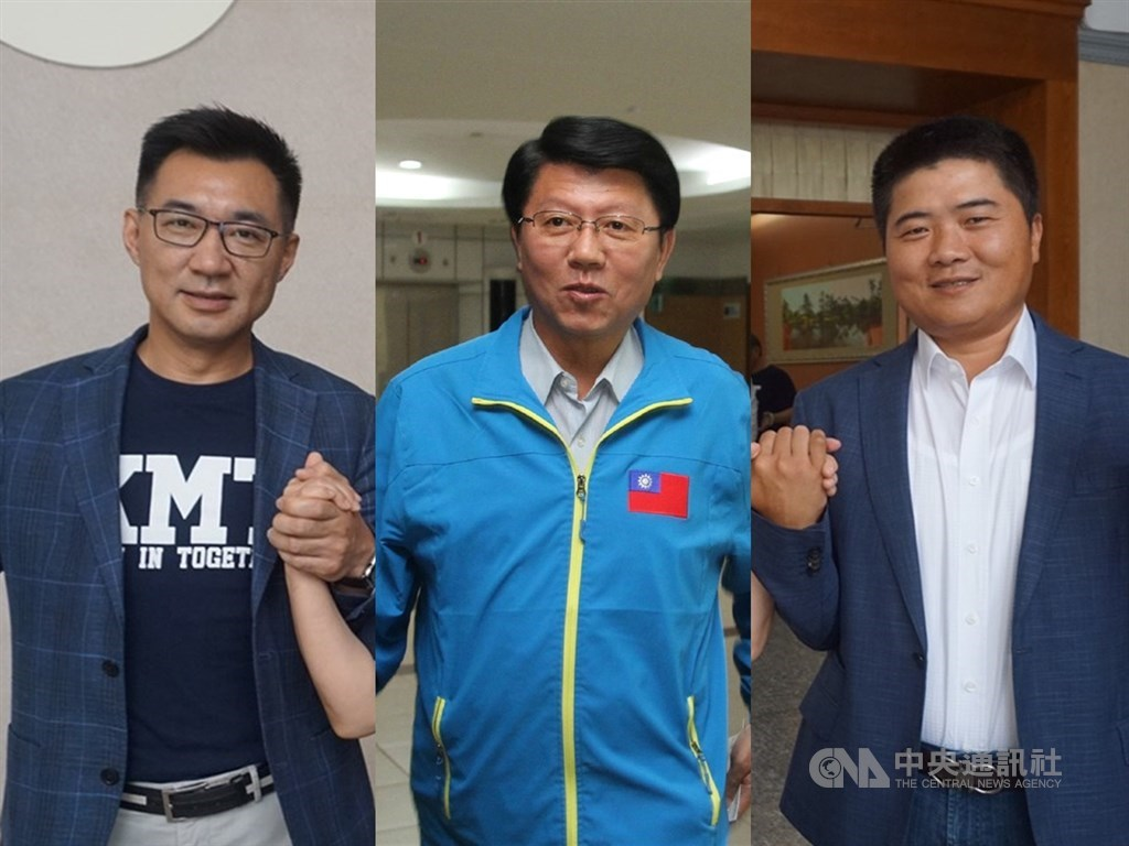 國民黨主席江啟臣(左)17日發布黨務人事,未設副主席且進用青壯世代,其中2位副秘書長謝龍介(中)、顏寬恒(右)被視為挺韓戰將。(中央社檔案照片)