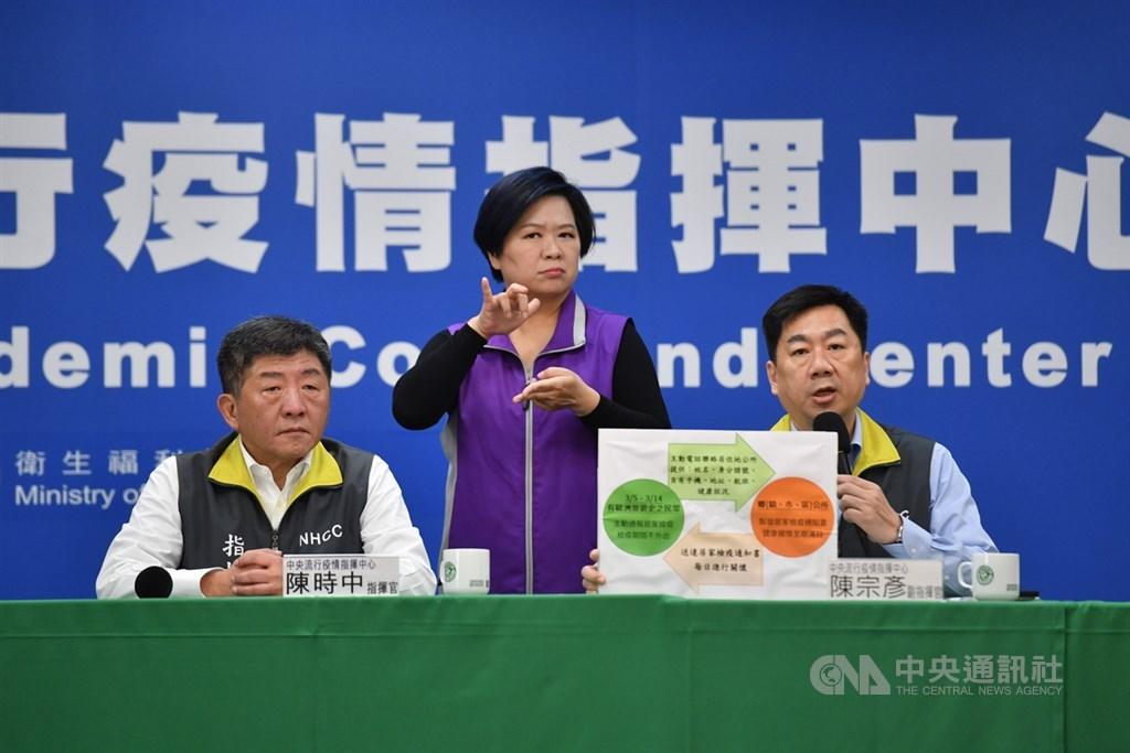 指揮中心18日宣布19日起外籍人士限制入境。指揮中心指揮官陳時中(左)說「不是鎖國」,凡是必要的就不會禁止,台灣還是要往前走。中央社記者王飛華攝 109年3月18日