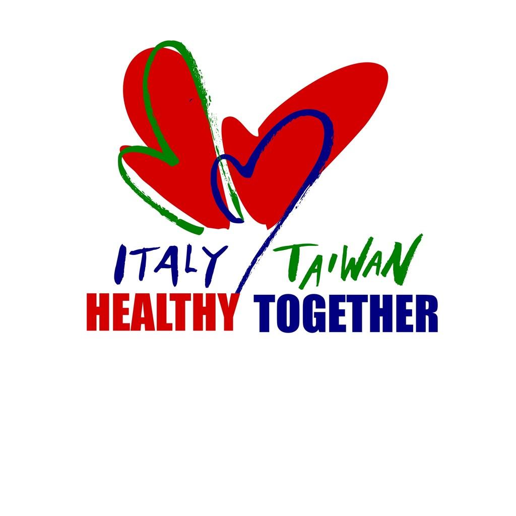 「義大利台灣一起健康」倡議主視覺是義大利和台灣藝術家夫妻檔米榭斯提、朱耀紅設計,由兩顆相依偎的鮮紅愛心構成。(義大利駐台代表處提供)
