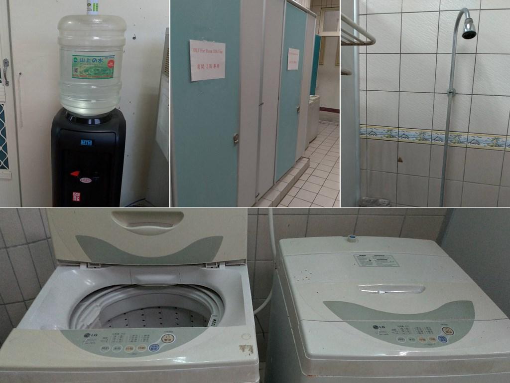 一名英國女子在台灣居家檢疫,抱怨環境如監獄。花蓮縣衛生局26日公布環境照片澄清,有提供飲水機、洗衣機,浴室空間為各樓層男女分開使用,每間淋浴室皆為專屬使用。(花蓮縣衛生局提供)中央社記者張祈傳真 109年3月26日