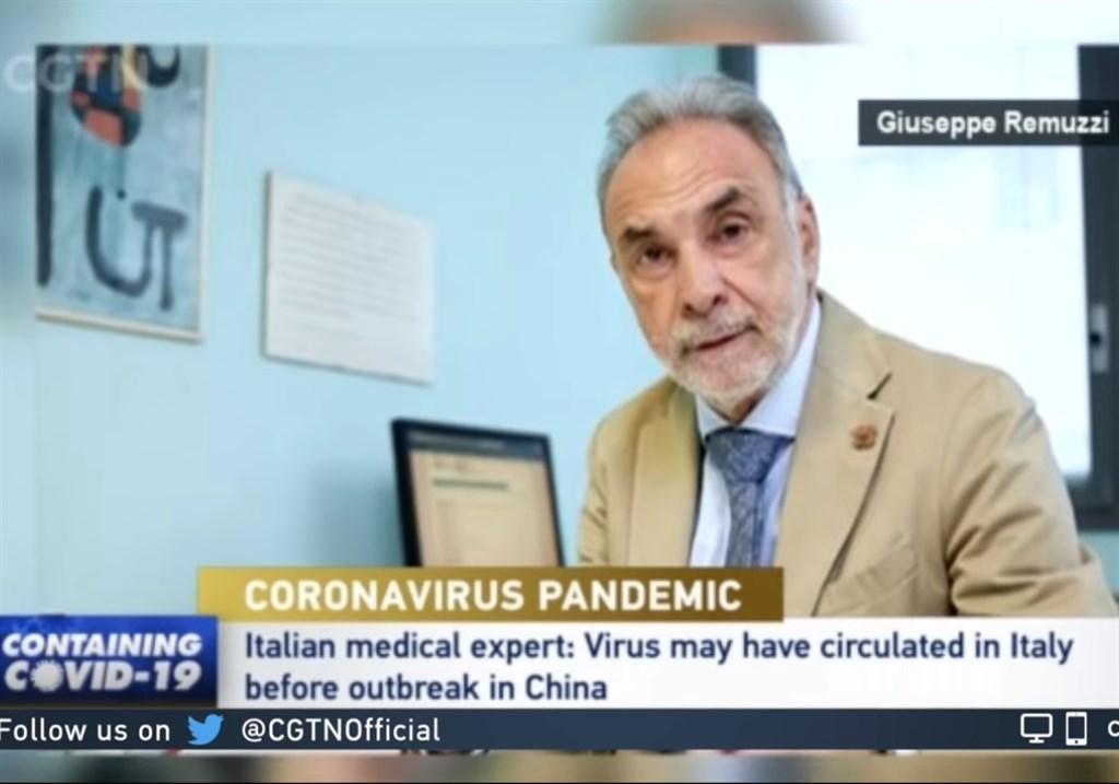 中國官媒近日大幅引述義大利名醫雷穆齊說法,指義大利是武漢肺炎發源地。雷穆齊24日憤怒澄清,「病毒當然是中國來的,這是斷章取義的惡意扭曲」。(圖取自CGTN YouTube頻道)