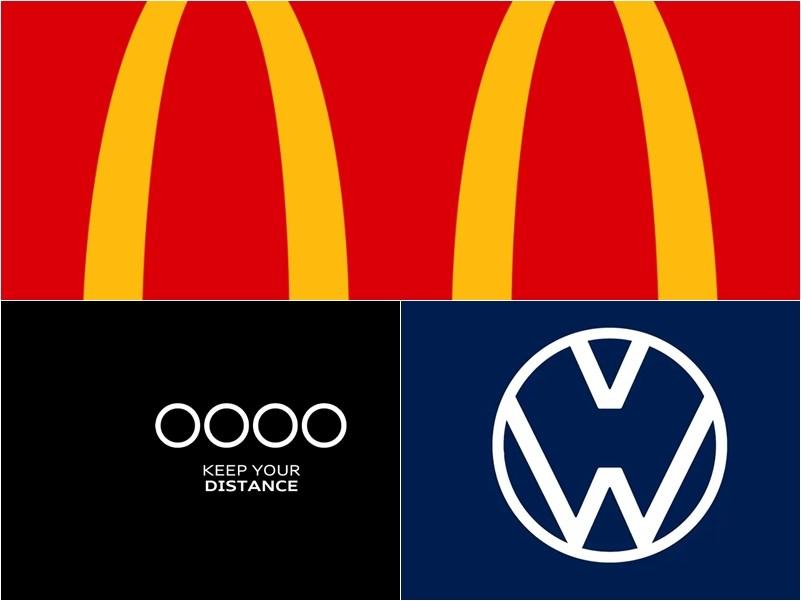 因應武漢肺炎疫情全球大流行,知名品牌LOGO也吹起「社交疏離」風。(上圖取自facebook.com/McDonaldsBrasil、左下圖取自facebook.com/Audi.AG、右下圖取自twitter.com/volkswagen)