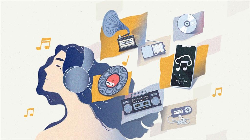 科技像一道浪,曾幾何時,音樂載體再度改變,如今是串流音樂的時代,不知不覺之間,我們已經置身無法擺脫的浪潮之中。(中央社製圖)