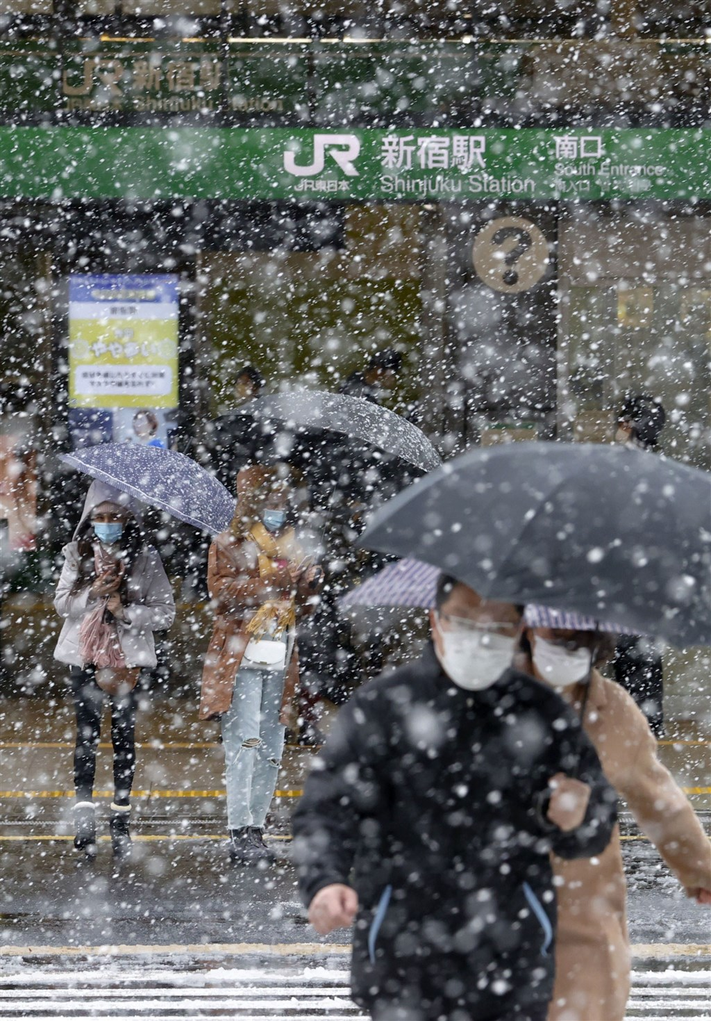 東京都29日降雪到中午12時止已積雪1公分,是時隔51年再度出現櫻花滿開後還積雪達1公分,氣象新聞公司表示情況相當罕見。(共同社提供)