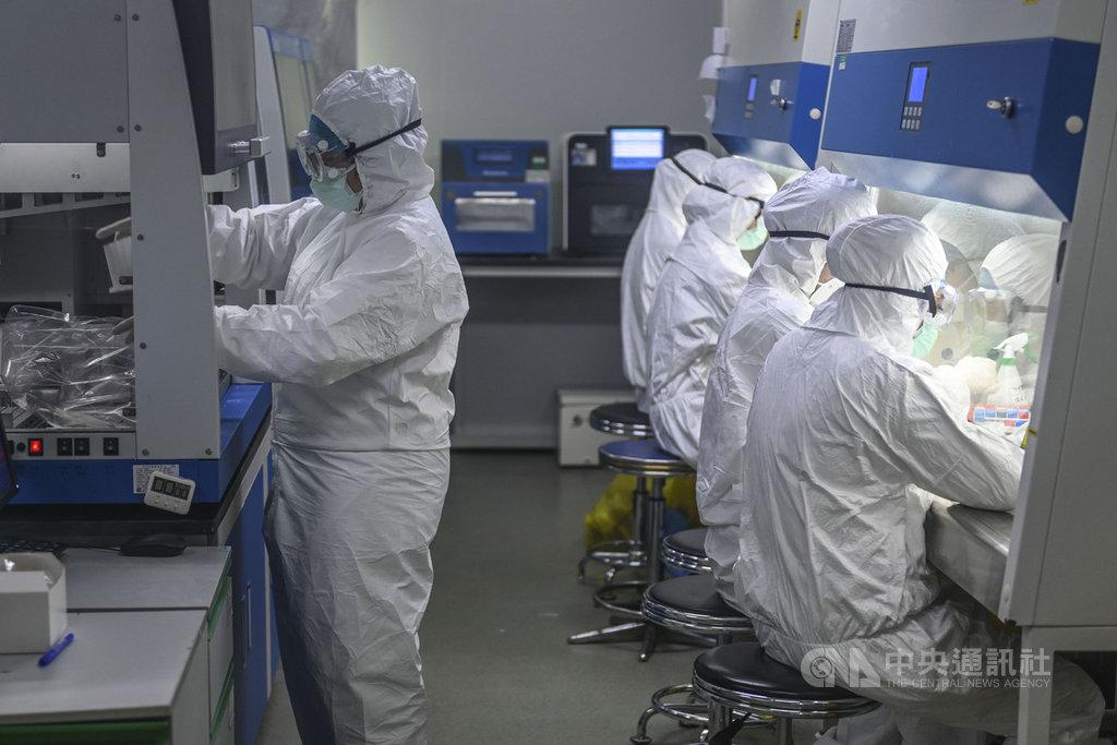 陸媒30日報導,中國相關部門近期可望公開無症狀感染者的統計資料,並建立「發現一例通報一例」的制度。圖為2月廣東一臨床檢驗中心的工作人員趕工檢測新型冠狀病毒核酸樣本。(中新社提供)中央社 109年3月31日