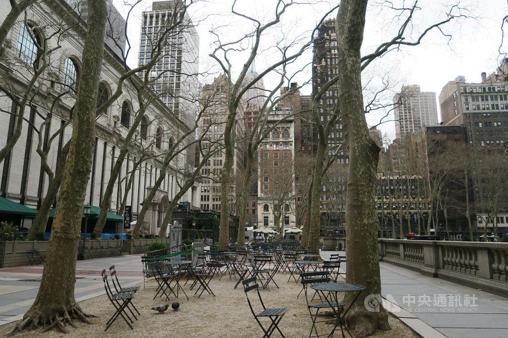 紐約地區武漢肺炎疫情蔓延,大批民眾居家防疫,鄰近時報廣場的布萊恩公園呈現淒涼景象。中央社記者尹俊傑紐約攝  109年4月2日