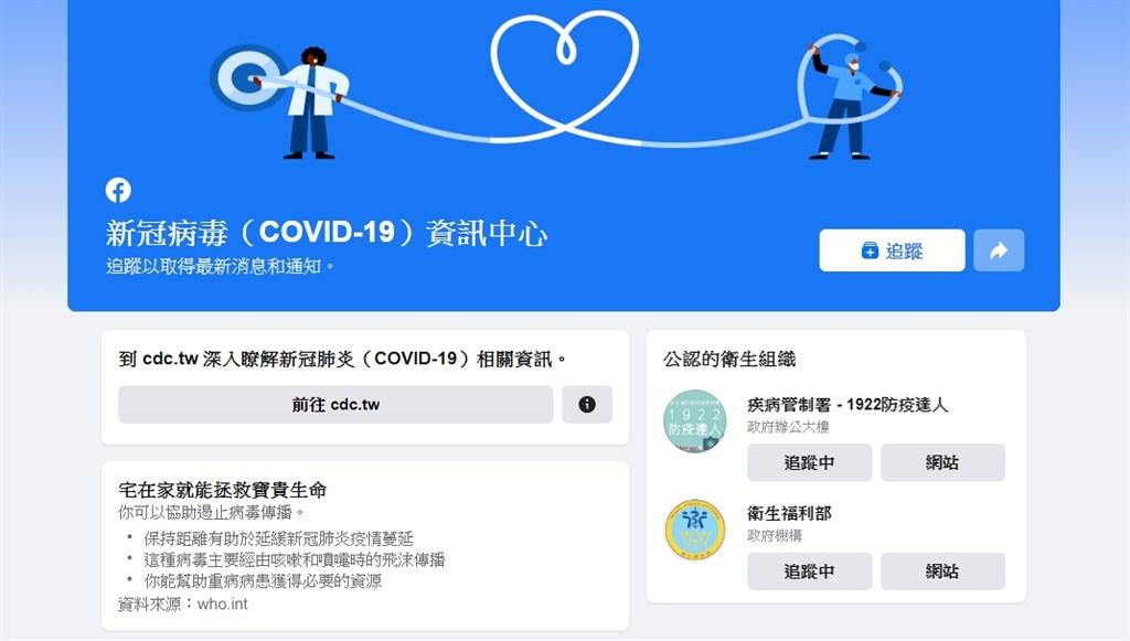 臉書6日宣布啟用2019冠狀病毒疾病(COVID-19)資訊中心,民眾能從中尋找來自可信任的衛生組織提供的資訊與資源、健康管理措施。(圖取自臉書網頁www.facebook.com)