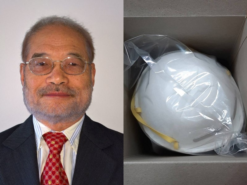 不織布公會6日在官網資訊分享,來自於台灣的美國工程師蔡秉燚(左)是N95口罩(右)的發明人。蔡秉燚在田納西大學材料科學系工作長達35年,日前已從學校退休。(左圖取自田納西大學研究基金會utrf.tennessee.edu,右圖為中央社檔案照片)