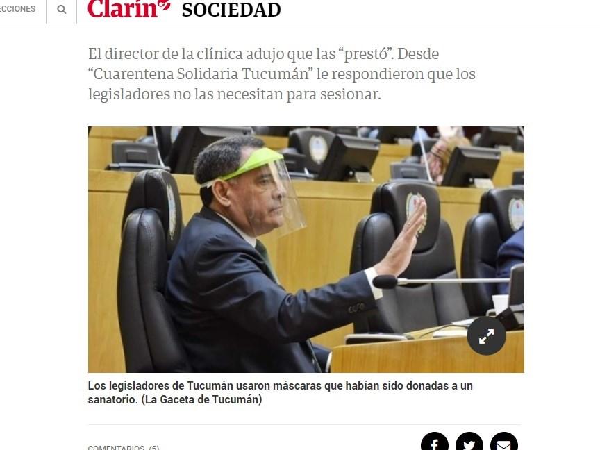 阿根廷一非營利組織製作塑膠面罩捐給醫護人員防疫,卻遭轉手提供給議員。(圖取自號角報網頁clarin.com)