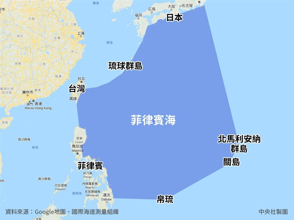 根據國際海道測量組織(IHO),菲律賓海東起北馬利安納群島,西鄰東海、南海,北起日本本洲南岸,南至帛琉。(中央社製圖)