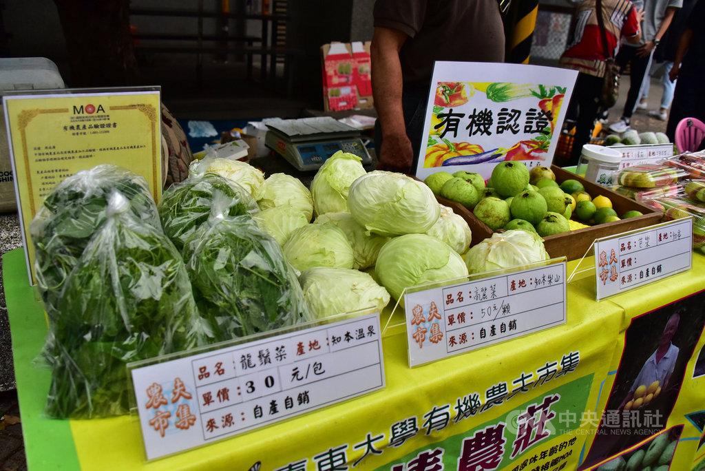 台東大學評選在地優質農戶每週二在學校內舉辦農夫市場,各攤農戶所展售的產品必須標示品名、產地、單價及來源,讓消費者認識食物,並與農地連結。(台東大學提供)中央社記者盧太城台東傳真 109年4月18日