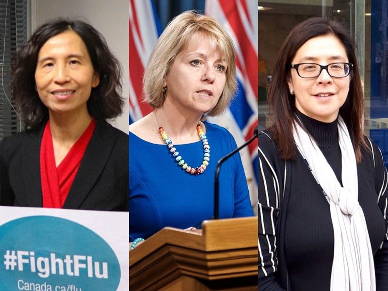 加拿大各級首席公共衛生官也大多是女性。圖左起為聯邦政府華裔首席衛生官譚詠詩、卑詩省首席衛生官邦妮亨利、安大略省多倫多市首席衛生官德維拉。(左圖取自twitter.com/CPHO_Canada,中圖取自Province of British Columbia flickr網頁flickr.com,右圖取自twitter.com/epdevilla)