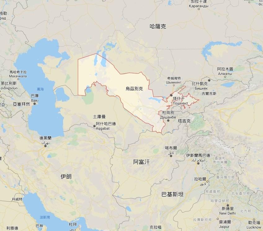烏茲別克(紅框處)東部的薩爾多巴水庫在1日早晨發生潰壩事故。(圖取自Google地圖網頁google.com.tw/maps)