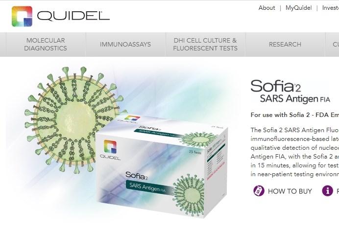 FDA已批准使用Quidel Corp.研發的抗原檢測,Quidel表示,這項新型檢測能於15分鐘內提供準確的自動化檢驗結果。(圖取自Quidel Corp.網頁quidel.com)