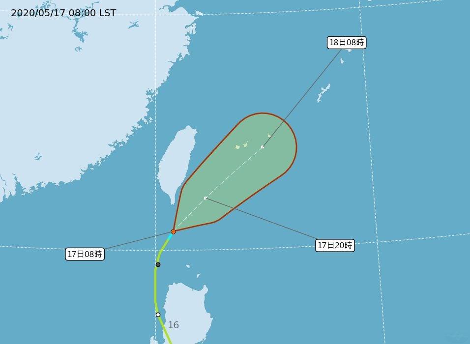 中央氣象局指出,輕度颱風黃蜂強度持續減弱為熱帶性低氣壓,17日上午8時30分解除海上警報。(圖取自中央氣象局網頁www.cwb.gov.tw)