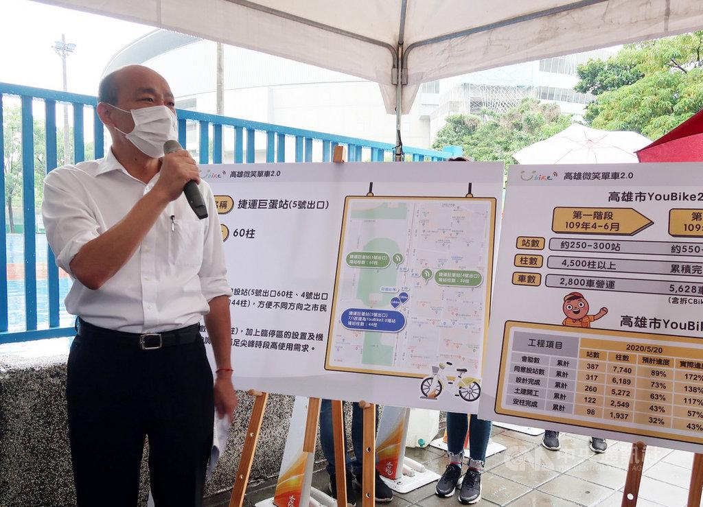 高雄市長韓國瑜(左)21日到捷運巨蛋站視察YouBike微笑單車2.0建置進度,並宣布提前至6月16日試營運。中央社記者王淑芬攝  109年5月21日