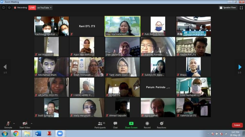 中華民國駐泗水辦事處20日促成台灣與印尼學者舉行視訊交流,分享防疫經驗。(駐泗水辦事處提供)中央社記者石秀娟雅加達傳真 109年5月21日