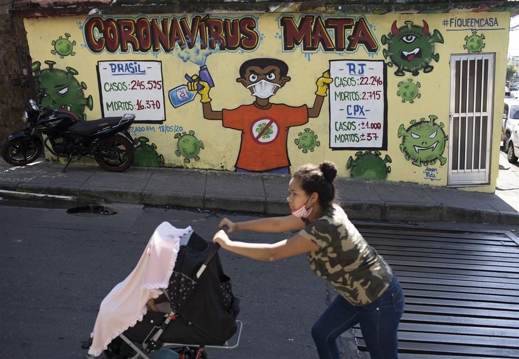 南美洲已成為武漢肺炎疫情的「新中心」。圖為21日巴西街頭以壁畫記錄疫情數據。(美聯社)
