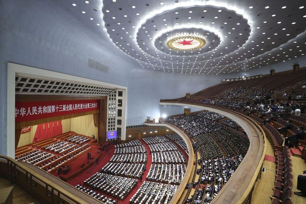 中國13屆全國人大代表會議28日下午舉行閉幕式,以2878票贊成,1票反對、6票棄權通過港版國安法立法授權。(中新社提供)