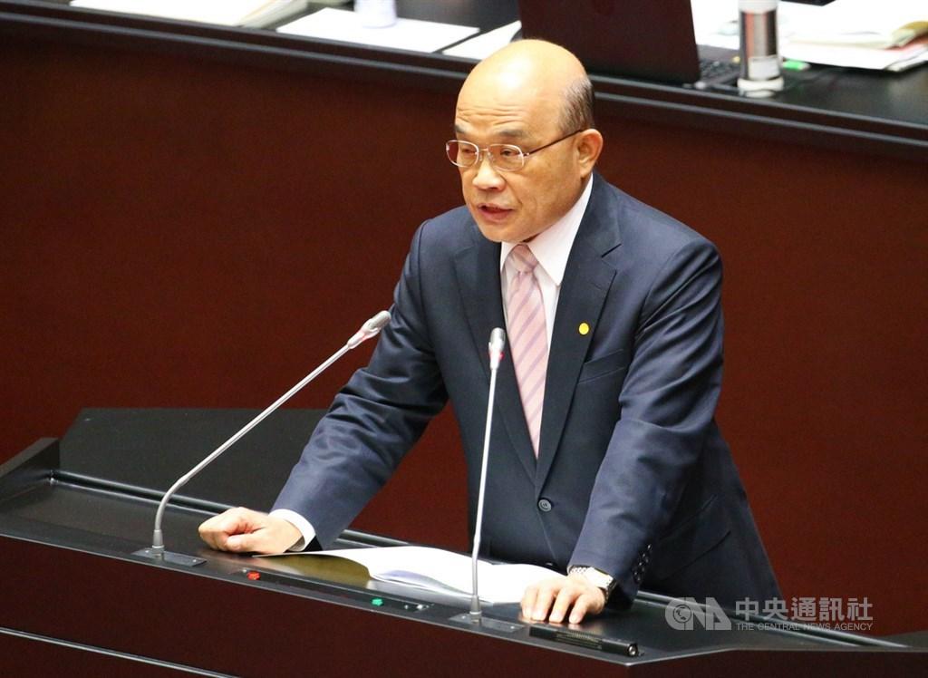 行政院長蘇貞昌29日上午到立法院報告施政方針並備質詢。中央社記者謝佳璋攝 109年5月29日