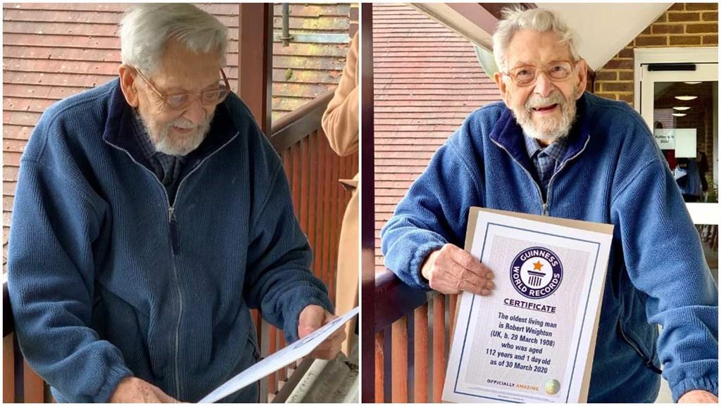 金氏世界紀錄認證的世上最長壽男性、英國人瑞魏頓28日癌逝,享嵩壽112歲。(圖取自金氏世界紀錄網頁guinnessworldrecords.com)
