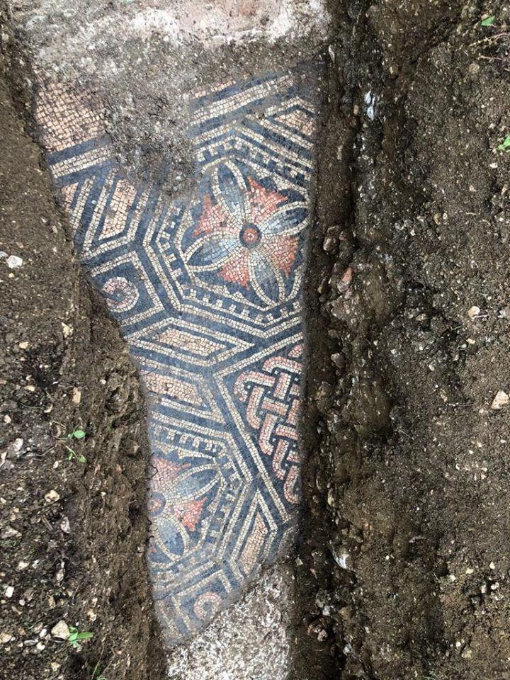 義大利內格拉爾市長格里森28日說,考古學家經歷近一世紀尋找後,在義大利北部葡萄園地下發現保存完美的古羅馬別墅馬賽克地板。(圖取自facebook.com/ComunediNegrar)