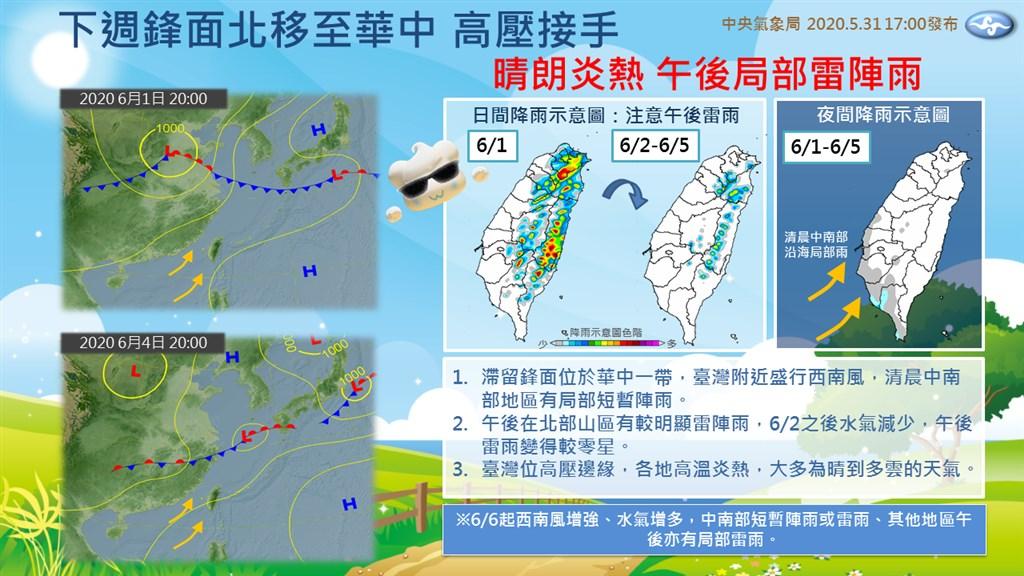 中央氣象局預報,未來一週台灣是晴朗炎熱天氣。氣象局代理局長鄭明典31日也在臉書提醒,應防午後雷陣雨。(圖取自facebook.com/CWB.TW)