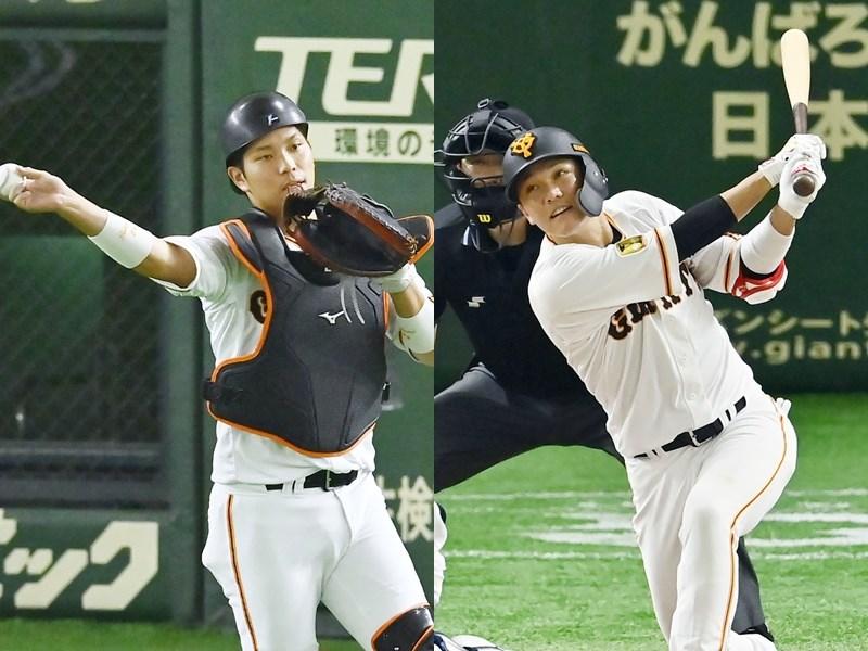 日本職棒巨人隊3日公布,陣中主力球員捕手大城卓三(左)及內野手坂本勇人確診武漢肺炎)。(共同社提供)