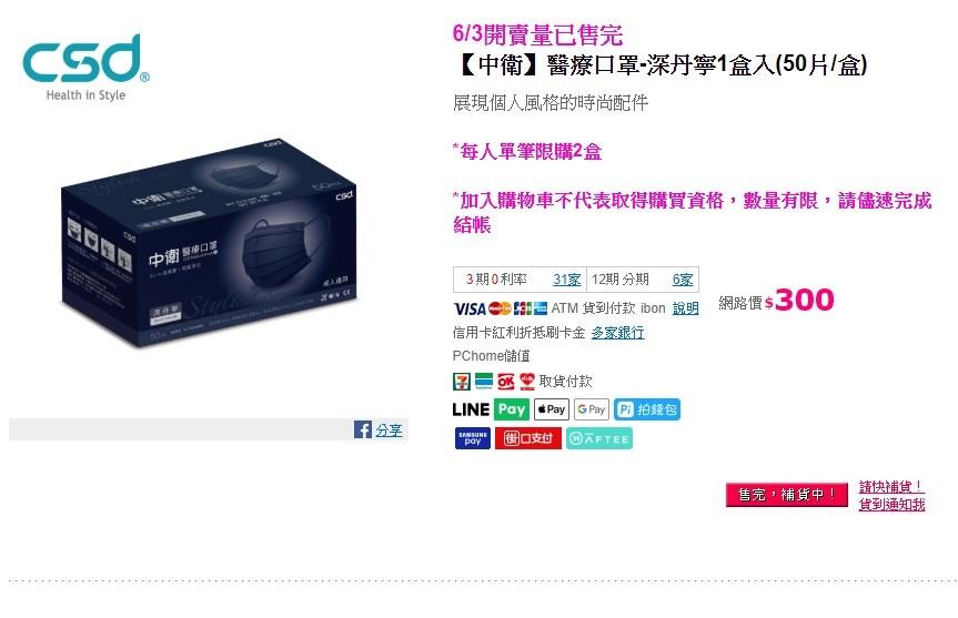 民眾上網搶購口罩熱潮,PChome24h購物3日下午4時開賣,5分鐘內完銷,還一度造成流量暴增讓網站介面無法使用。(圖取自PChome24h購物網頁pchome.com.tw)