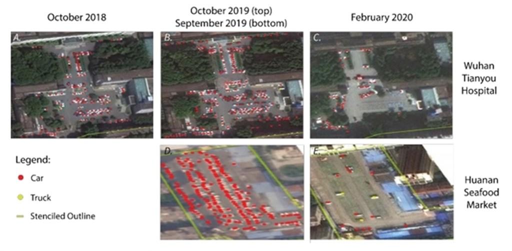 哈佛大學醫學院利用商用衛星影像,觀察到從2019年夏末到秋初武漢5大醫院周遭車流量急遽增加。(圖取自哈佛大學開放存取機構庫網頁dash.harvard.edu)