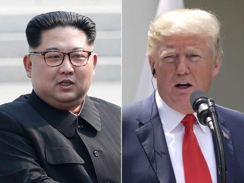 北韓領導人金正恩(左)與美國總統川普(右)兩年前首度「川金會」讓舉世關注,但隨非核協商遲無進展,北韓12日揚言打造包括核武在內的可恃武力因應美國威脅。(圖左為兩韓峰會共同採訪團提供、右為中央社檔案照片)