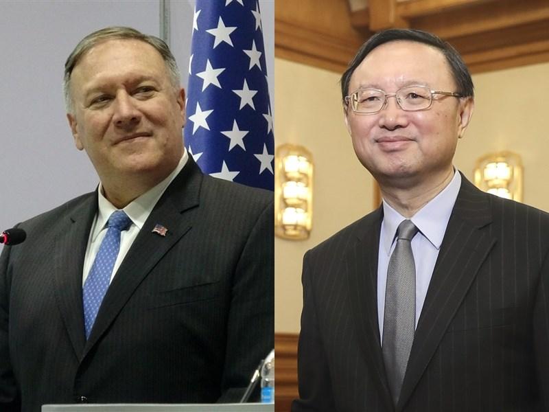 報導指出,美國國務卿蓬佩奧(左)17日將在夏威夷會見中國外交領導官員楊潔篪(右)。(左圖為中央社檔案照片;右圖為中新社提供)
