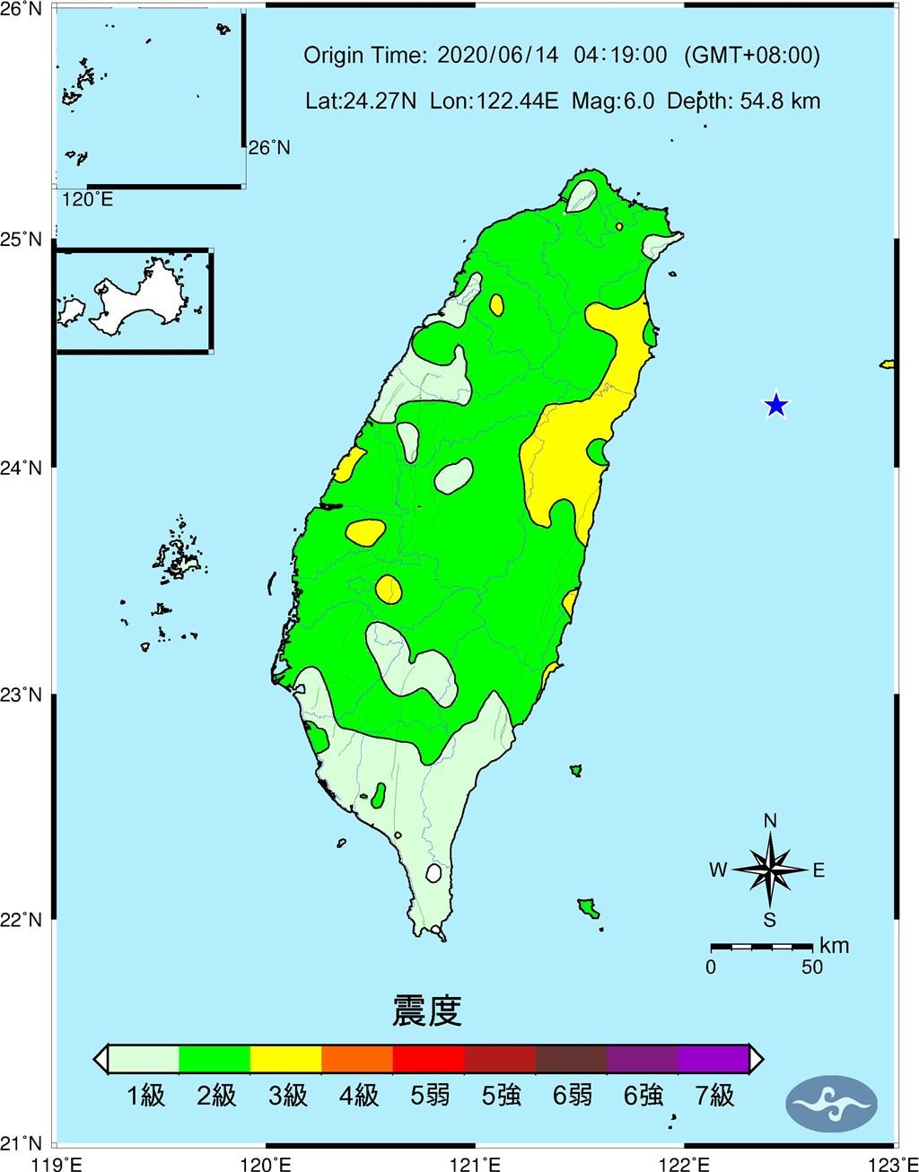 14日清晨宜蘭外海發生規模6.0地震,全台有感。圖為震度圖,星號為震央。(圖取自中央氣象局網頁cwb.gov.tw)