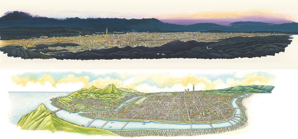 作家姚任祥與插畫家葉子明耗時7年,完成「台北上河圖」,將台北百餘年間的城市變化,收錄其中。上圖為書中收錄的「台北夜景鳥瞰圖」,下圖則參考日治時期的台北鳥瞰圖繪製而成, 姚任祥表示這是最完整能一覽台北市全景的方位。(誠品書店提供)