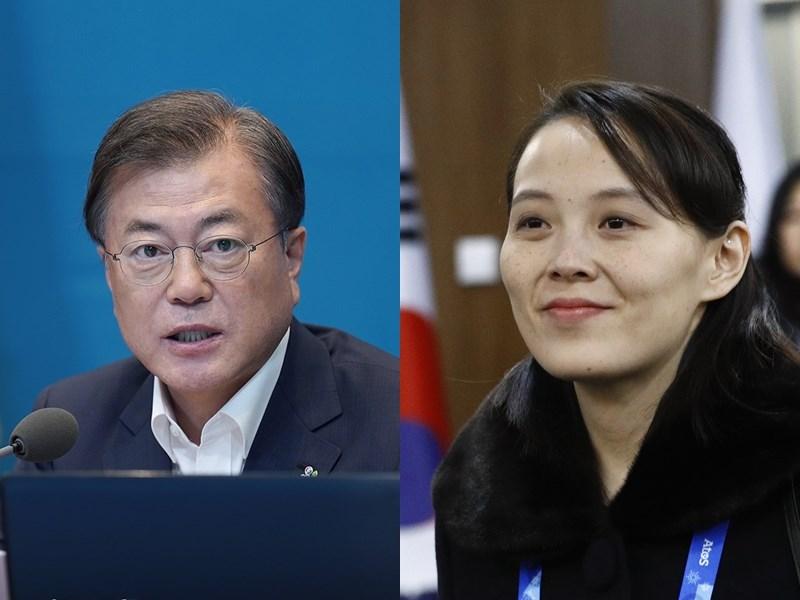 北韓16日炸毀兩韓共同聯絡辦公室,北韓勞動黨第一副部長金與正事後(右)痛批南韓總統文在寅,並指南韓過去2年只以韓美同盟為重。(左圖取自facebook.com/TheBlueHouseKR,右圖為美聯社檔案照片)