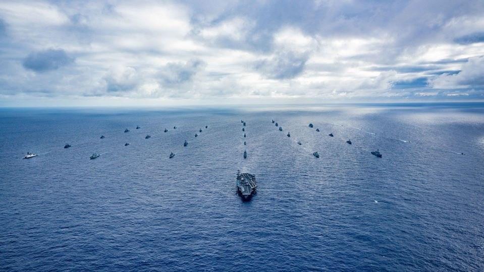 專家指出,台灣可期待以「觀察員」身分受邀參與2020年8月舉行的環太平洋軍事演習。圖為2018年環太平洋軍事演習。(圖取自facebook.com/RimofthePacific)