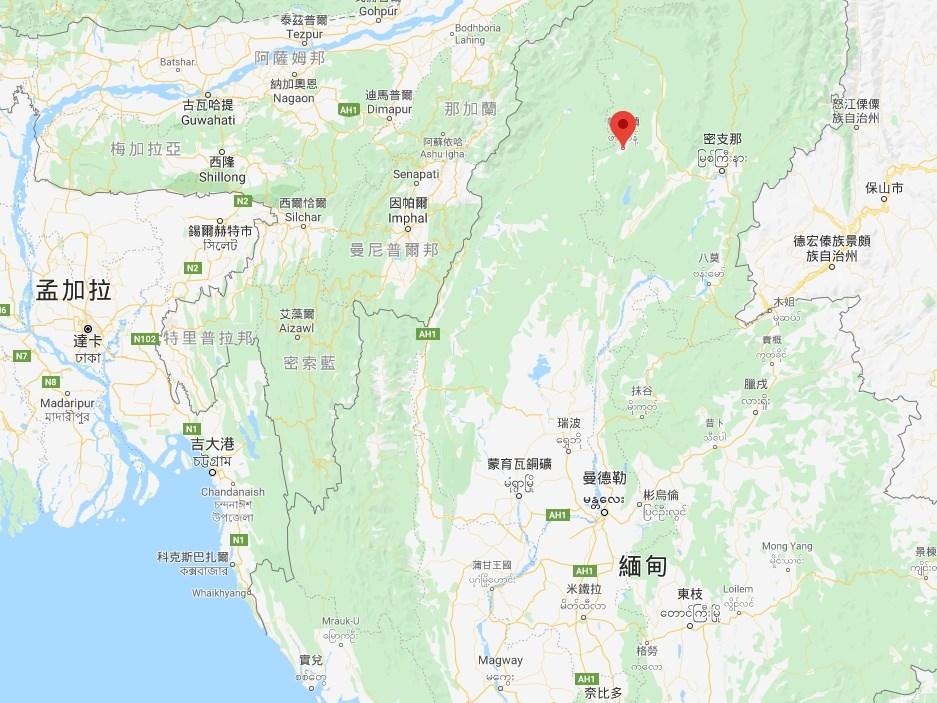 緬甸北部克欽邦帕坎區(紅標處)一座玉石礦場2日發生山崩,已知多名礦工死亡。(圖取自Google地圖)