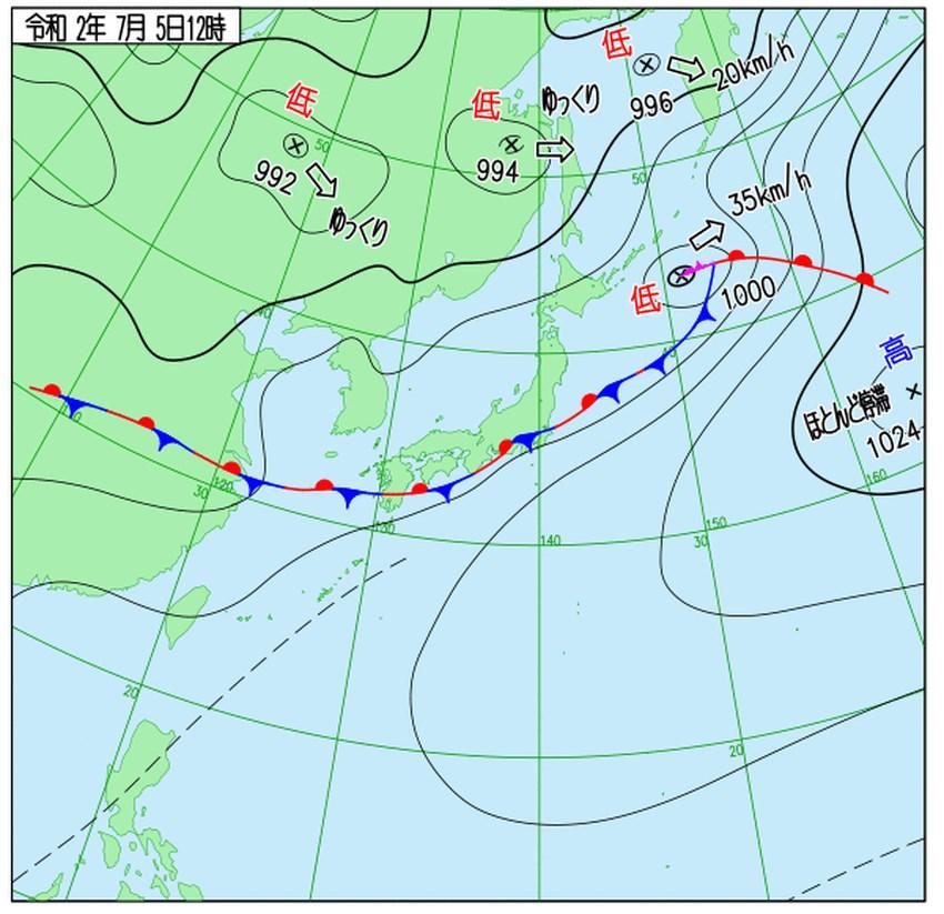 根據日本氣象預報,九州南部附近滯留的梅雨鋒面5日晚間到6日將北移到九州北部附近,並滯留到7日。(圖取自日本氣象廳網頁www.jma.go.jp)
