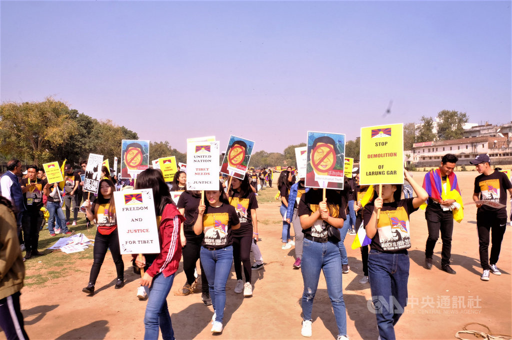 羅摩力拉廣場(Ramlila Maidan)長期都有不同的團體和個人到此舉行民主示威活動。圖為2019年5月藏人抗議中共暴政的示威。中央社記者康世人新德里攝  109年7月9日