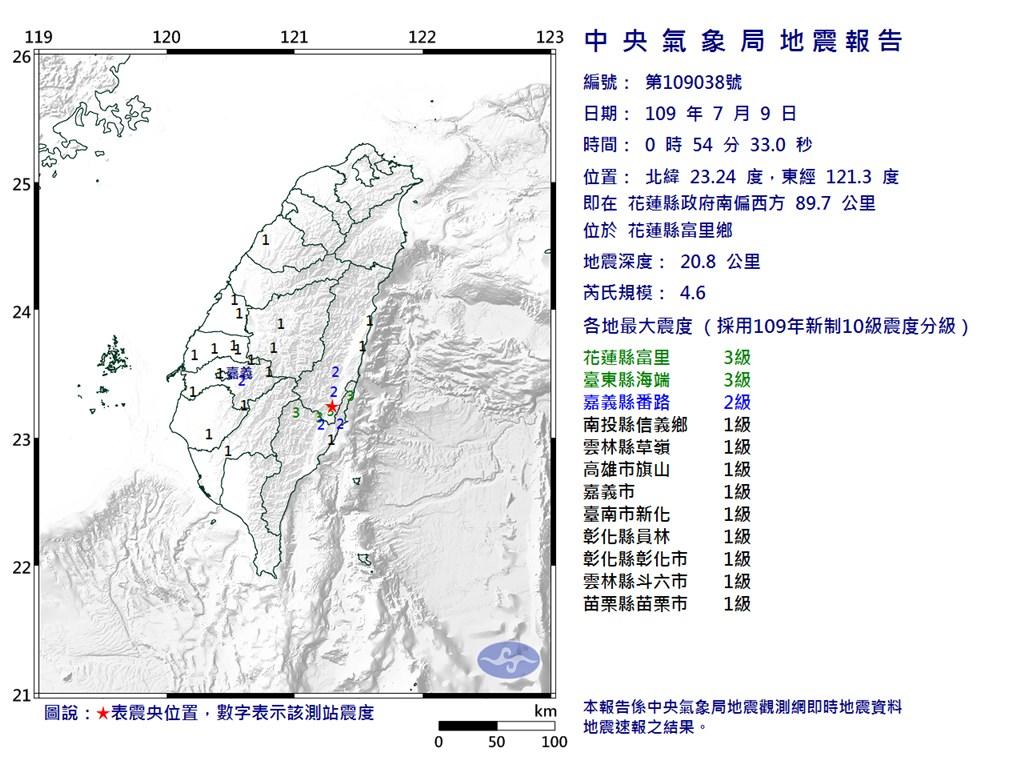 花蓮縣富里鄉9日0時54分發生芮氏規模4.6地震,地震深度20.8公里。(圖取自中央氣象局網頁cwb.gov.tw)