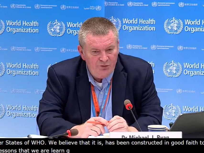 世衛組織突發衛生事件執行主任萊恩10日在日內瓦舉行的線上記者會表示,關於哈薩克出現的肺炎病例,世衛正在關注檢測作法和品質,以確保檢測結果正確。(圖取自WHO YouTube頻道網頁youtube.com)