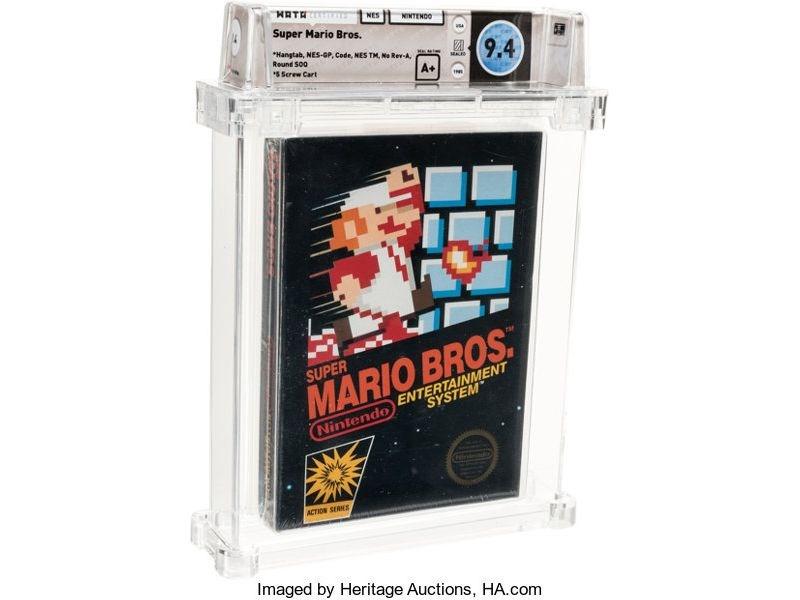 一盒未拆封的1985年版「超級瑪利歐兄弟」遊戲卡匣,11日以11萬4000美元(約新台幣346萬元)高價售出。(圖取自傳統拍賣公司網頁comics.ha.com)