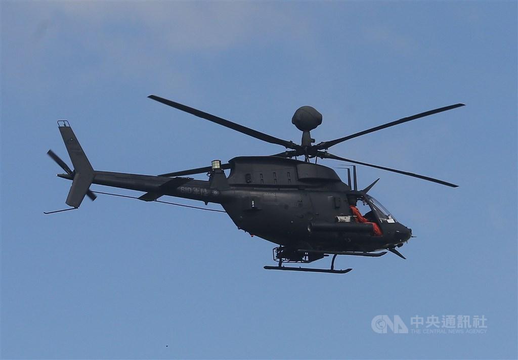 陸軍航特部601旅一架OH-58D戰搜直升機16日失事、兩名飛官殉職。圖為OH-58D同型機。(中央社檔案照片)