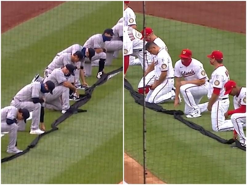 MLB終於在2019冠狀病毒疾病疫情中開打,在開幕戰交手的紐約洋基(左)、華盛頓國民(右)兩隊球員,賽前在球場上單膝下跪。(圖取自facebook.com/mlb)