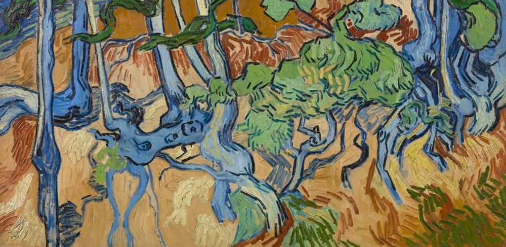 飽受磨難的梵谷在生命終結之前,一直在畫「樹根」這幅作品,畫作呈現出來的是色彩鮮艷的樹幹、樹根和樹墩,地點在奧佛蘇歐西附近。(www.facebook.com/VanGoghMuseum)