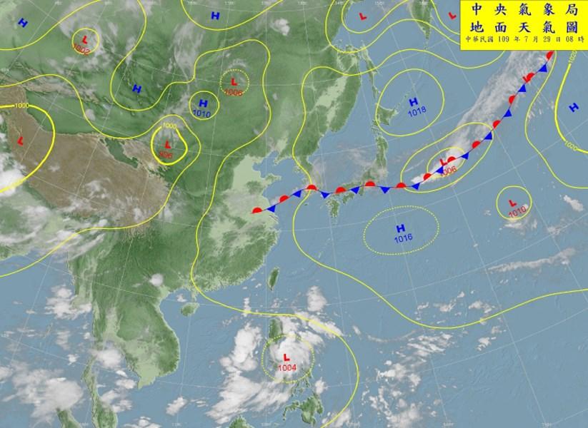 中央氣象局表示,由於太平洋高壓勢力較強,導致7月成為歷史上首個沒有颱風的7月機率大增。圖為29日上午8時的天氣圖。(圖取自中央氣象局網頁cwb.gov.tw)