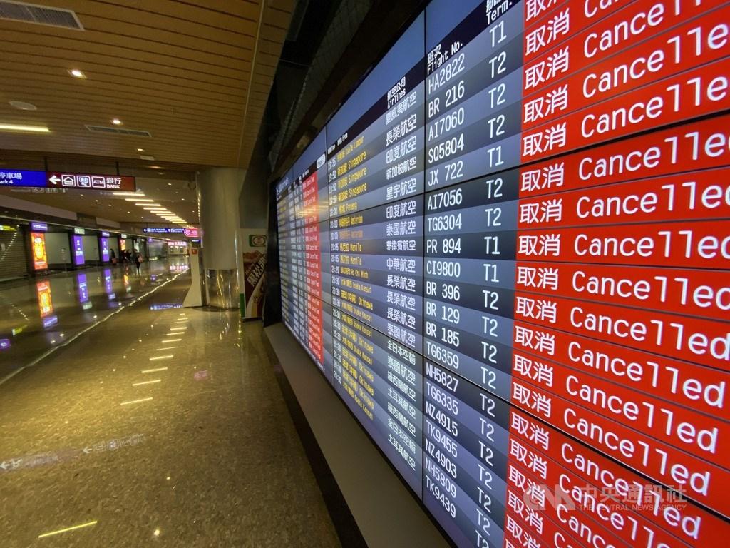 武漢肺炎影響,多數國際航線停飛、航空公司收入大減,桃園國際機場估計全年約虧損新台幣13億元。(中央社檔案照片)