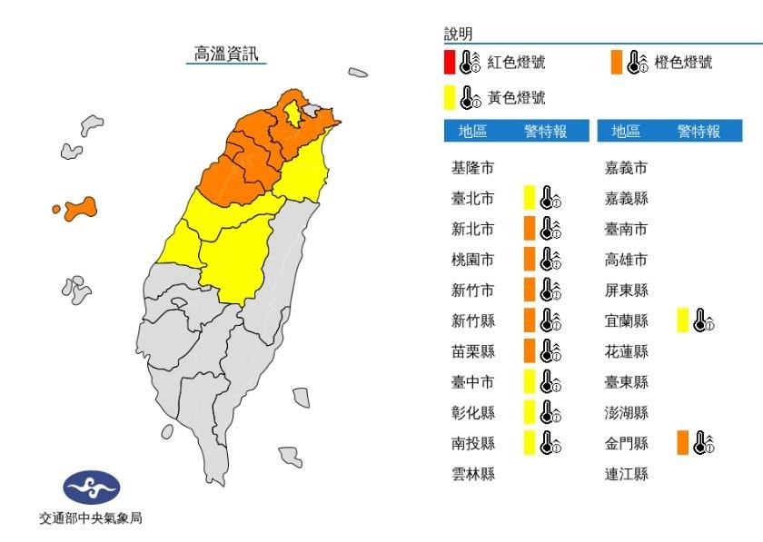 氣象局31日下午1時6分發布11縣市高溫燈號。(圖取自中央氣象局網頁cwb.gov.tw)